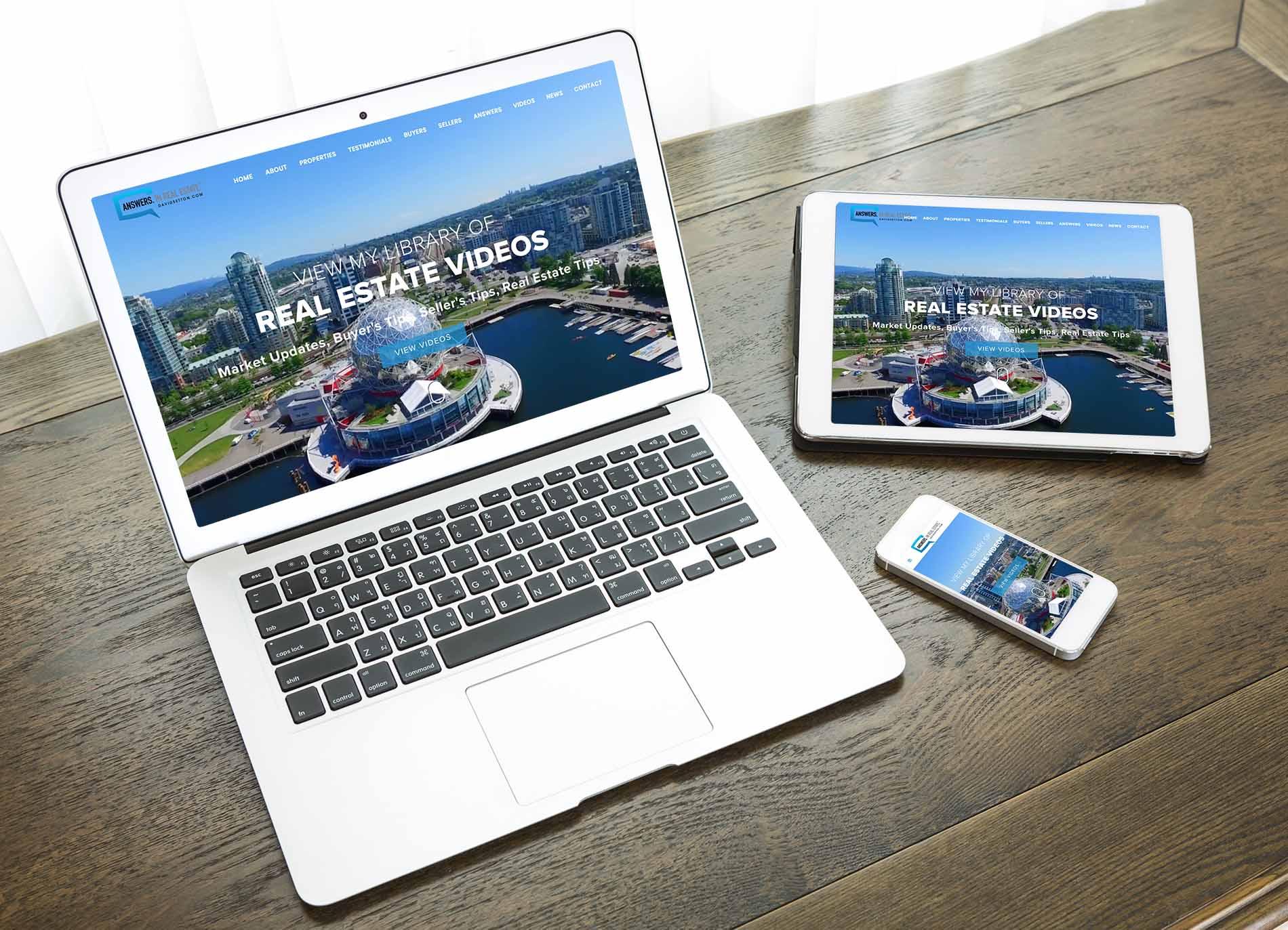 Digitálne zariedenia ukazujúce webstránku Blair Veenstra vytvorenú firmou IdeaMarketing.sk