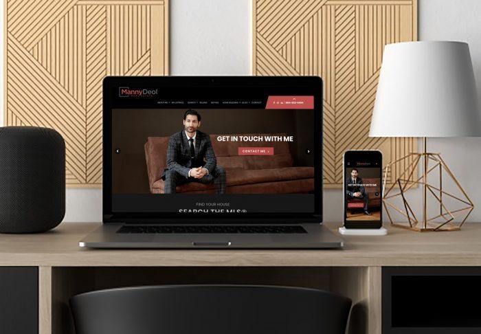 Laptop a iPhone ukazujúci webstránku realtiného makléra vytvorenú firmou IdeaMarketing.sk